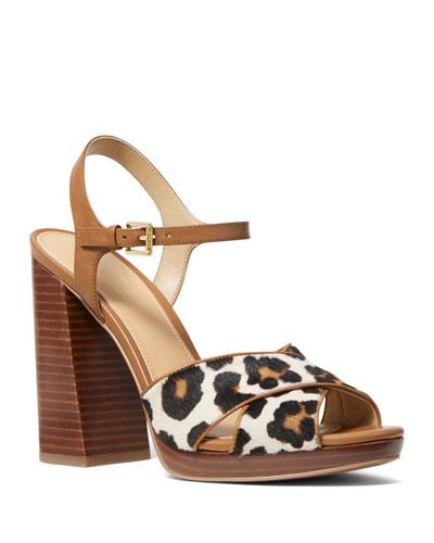 Alexia Leopard-Print Calf Hair Platform Sandals