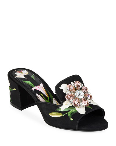 Lilium Jeweled Slide Sandals