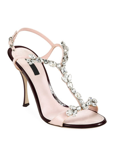 Jeweled Satin Y-Strap Sandals