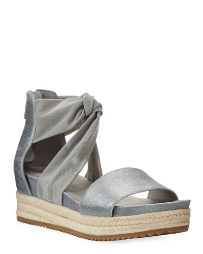 Zoe Metallic Leather & Mesh Espadrille Sandals