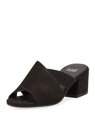 Haven Matte Leather Crisscross Slide Sandals