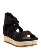 Eileen Fisher Zoe Leather/Mesh Espadrille Sandals