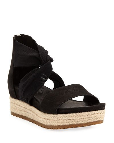 Zoe Leather/Mesh Espadrille Sandals