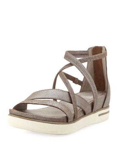 Crisscross Metallic Leather Sandals