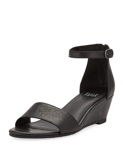 Mara Leather Ankle-Strap Wedge Sandals