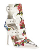 Alexander McQueen Embroidered Leather Caged Buckle Boots