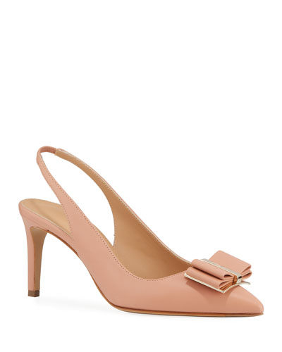 Zahir Leather Slingback Bow Pumps
