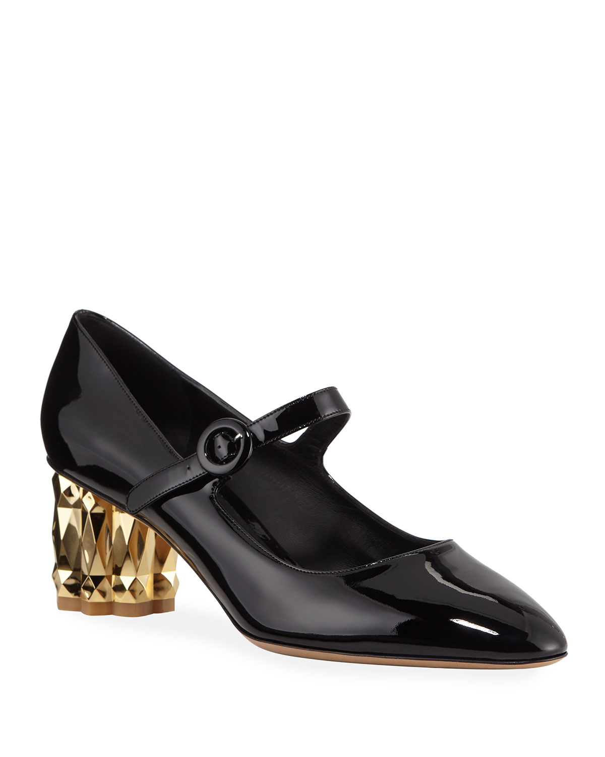 Ortensia Metallic-Heel Patent Pumps