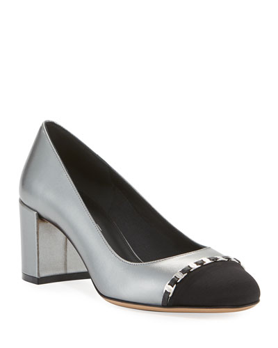 Avella 2 Vara Block-Heel Pumps with Mini Chain