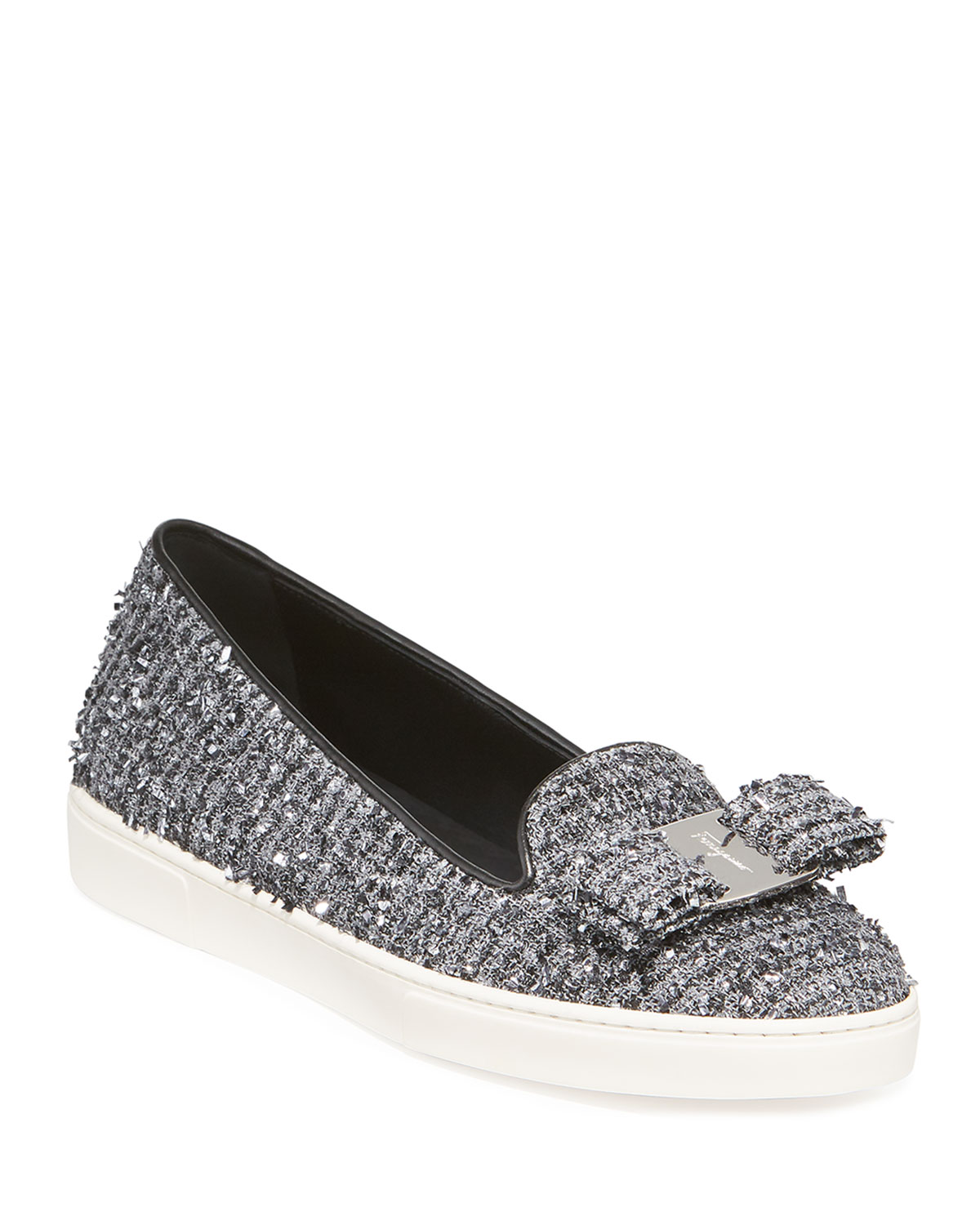 Novello Tweed Vara Bow Slip-On Flats