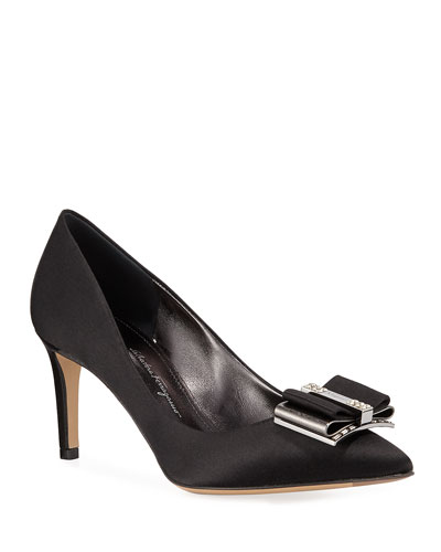 Zeri Satin Embellished Pumps, Nero