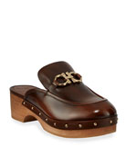Salvatore Ferragamo Cleome Leather Platform Clogs