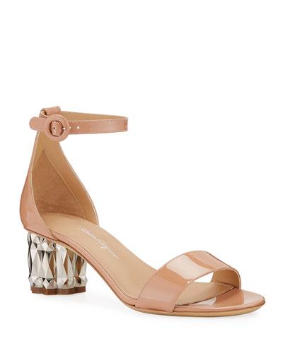Azalea 55 Patent Leather Metallic-Heel Sandals