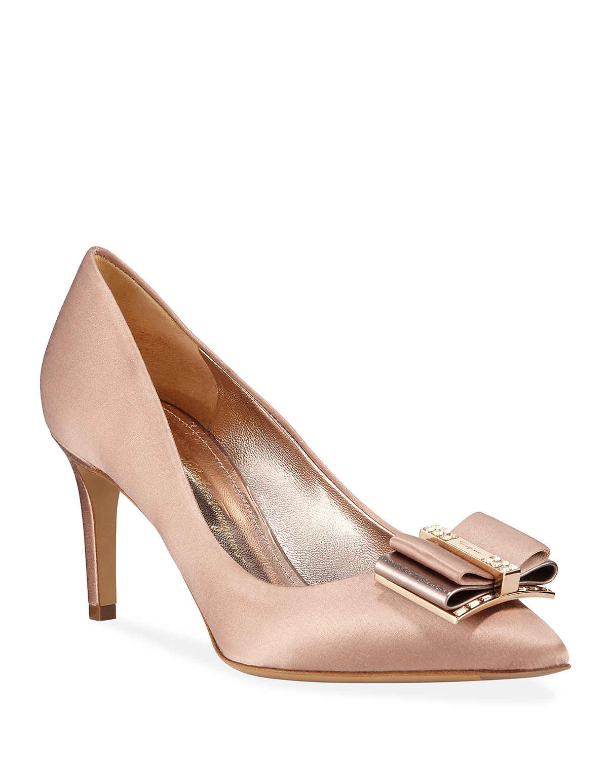 Zeri Satin Embellished Pumps, Blush