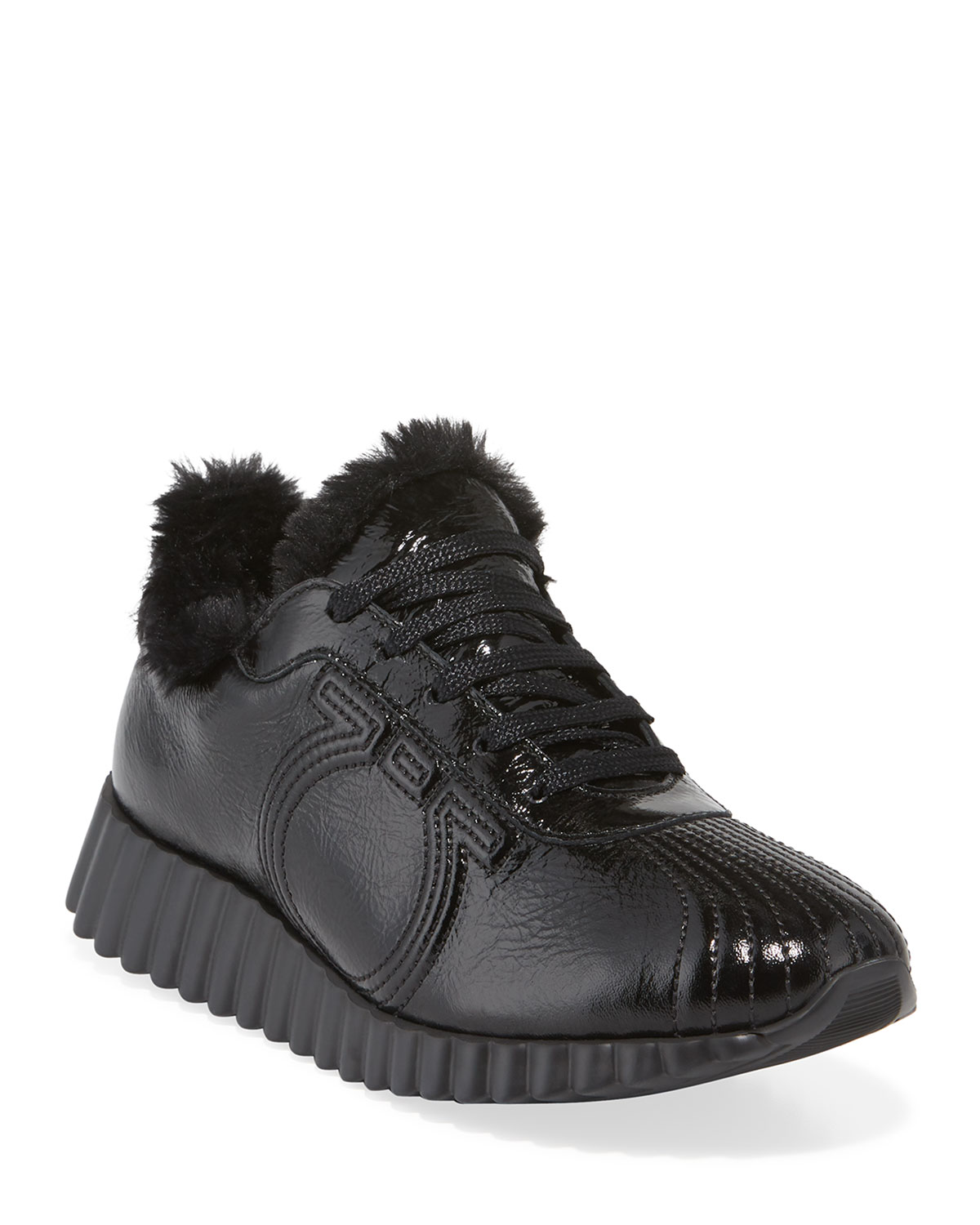 Mompeo Shiny Fur-Trim Sneakers