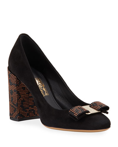 Vara Bow Mosaic Suede Low-Heel Pumps