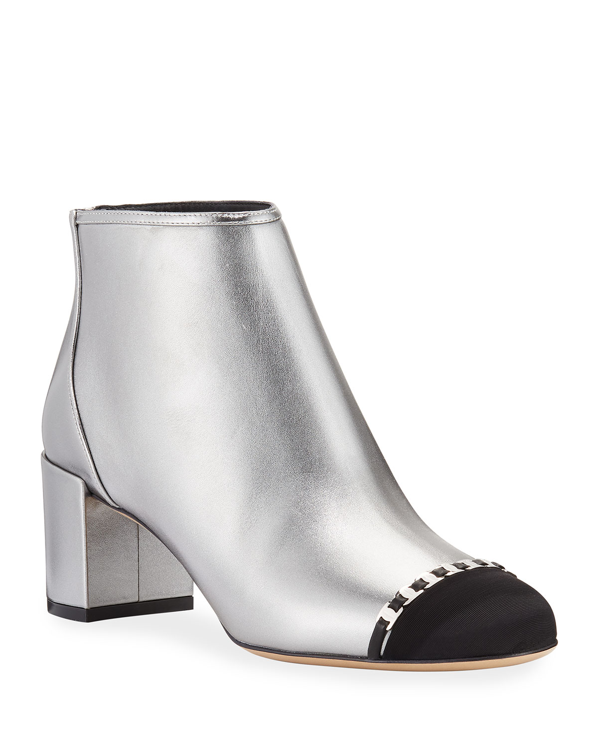Atri 2 Cap-Toe Mini Buckles Metallic Booties