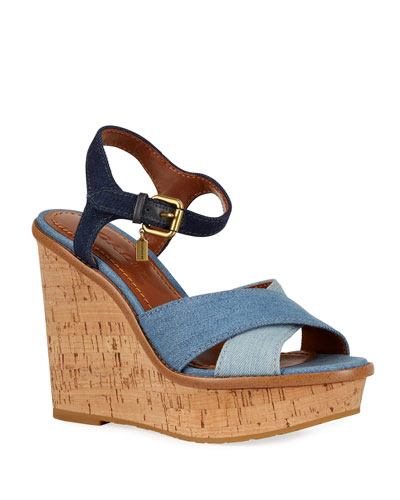 727578631636 Quick Look. Coach · Denim Ankle-Strap Wedge Sandals