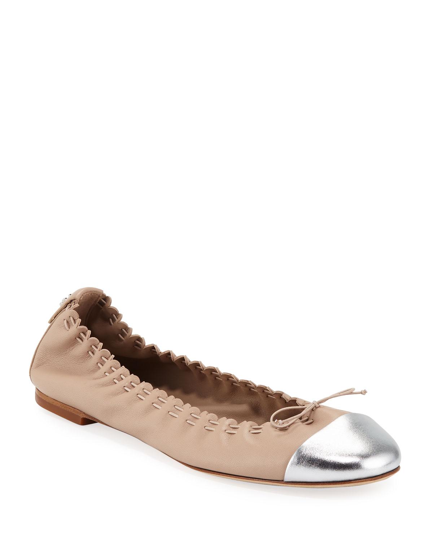 Metallic Cap-Toe Leather Ballet Flats