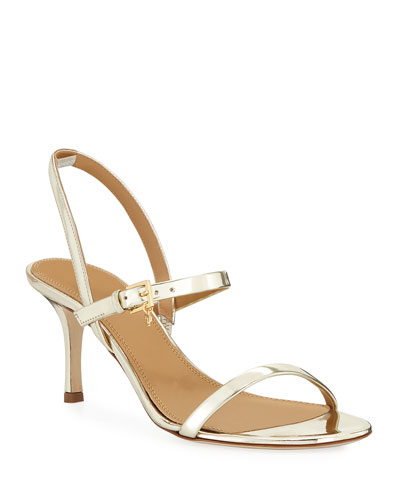 Penelope Metallic Leather Slingback Sandals