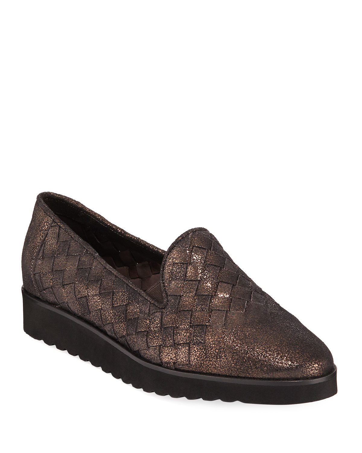 Naia Iconic Woven Metallic Leather Loafers, Brown