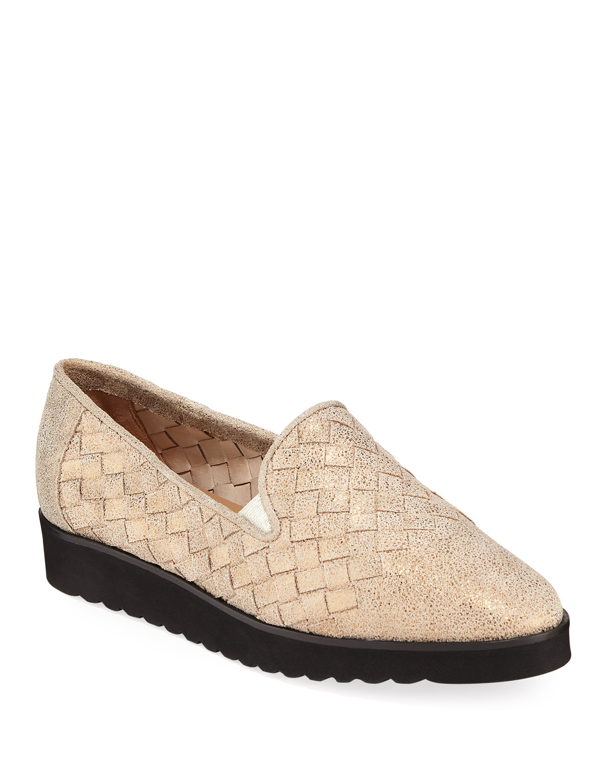 Naia Iconic Woven Leather Loafers, Pewter