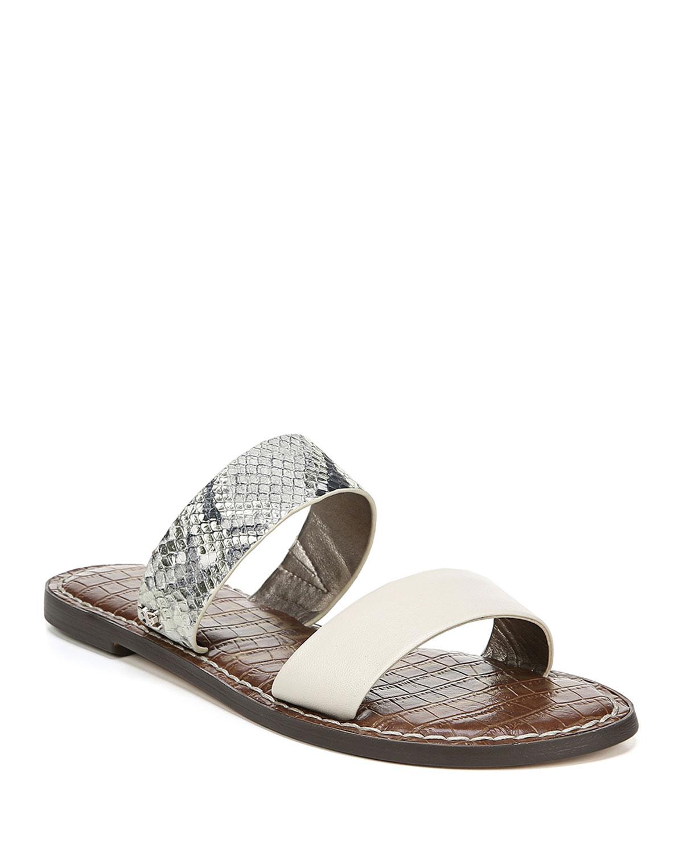 Gala Snake-Embossed Leather Slide Sandals