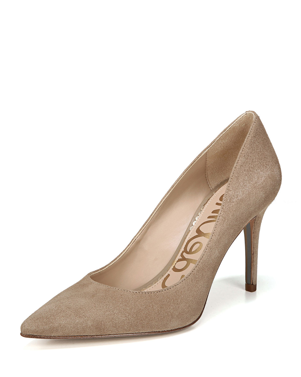 Margie Suede Pointed-Toe Pumps, Gray