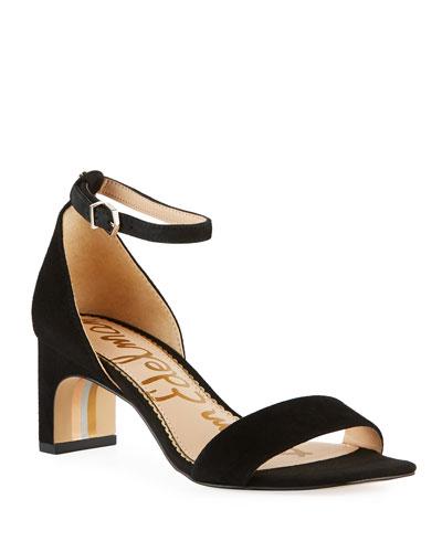 Holmes Suede Ankle-Strap Sandals, Black