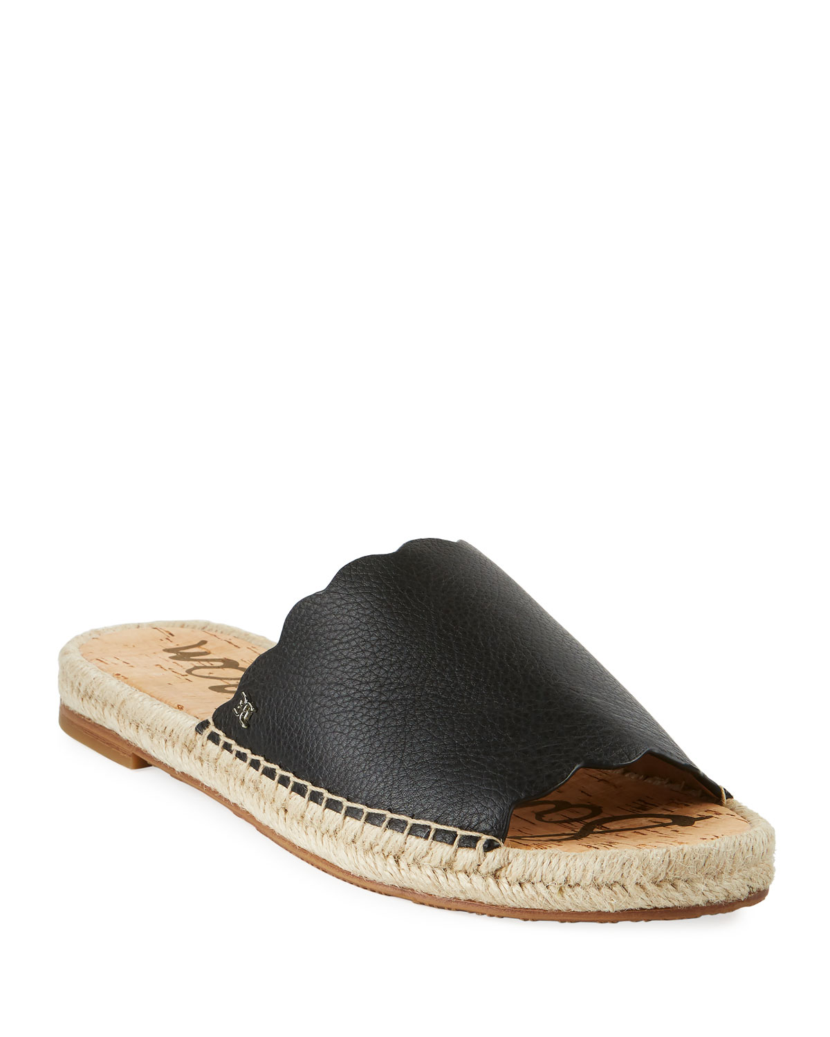 Andy Leather Flat Espadrille Slides
