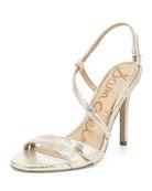 Sam Edelman Alisandra Strappy Metallic Leather Sandals
