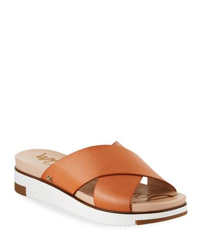 Audrea Leather Platform Slide Sandals, Brown