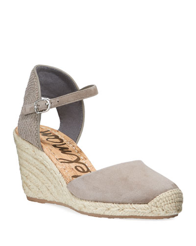 Payton Suede Wedge Espadrilles, Taupe