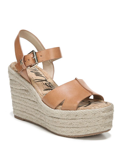 Maura Leather Platform Espadrille Sandals
