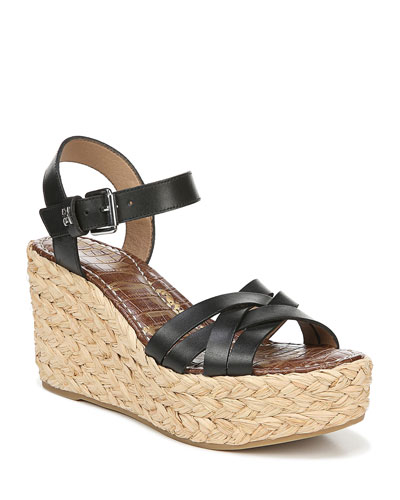 Darline Leather Platform Espadrille Sandals, Black
