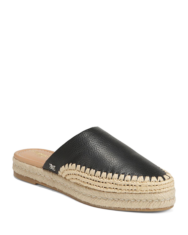 Austin Tumbled Leather Espadrille Mules