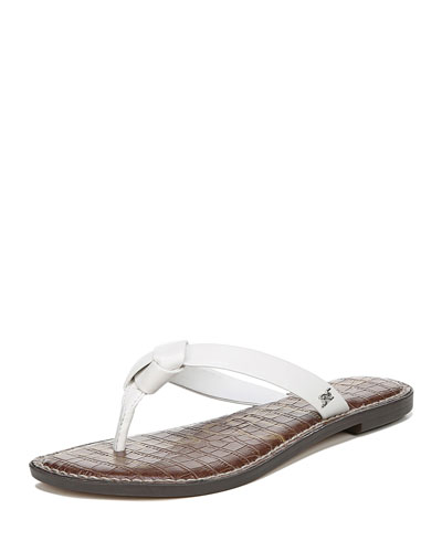 Giles Napa Leather Thong Sandals, White