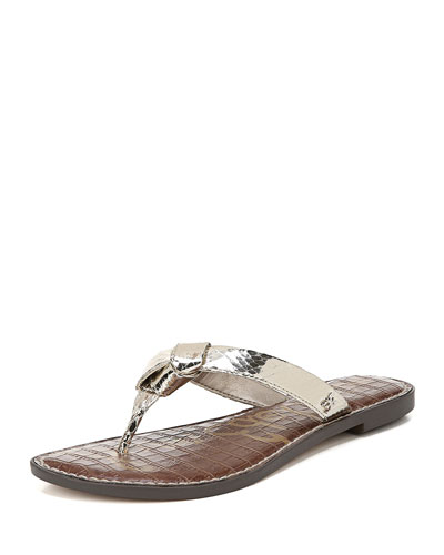 Giles Metallic Leather Thong Sandals
