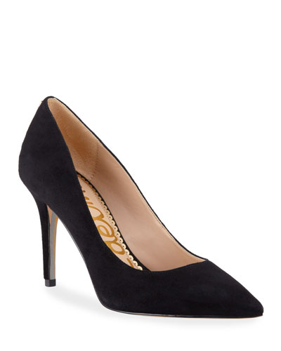 Margie Suede Pointed-Toe Pumps, Black