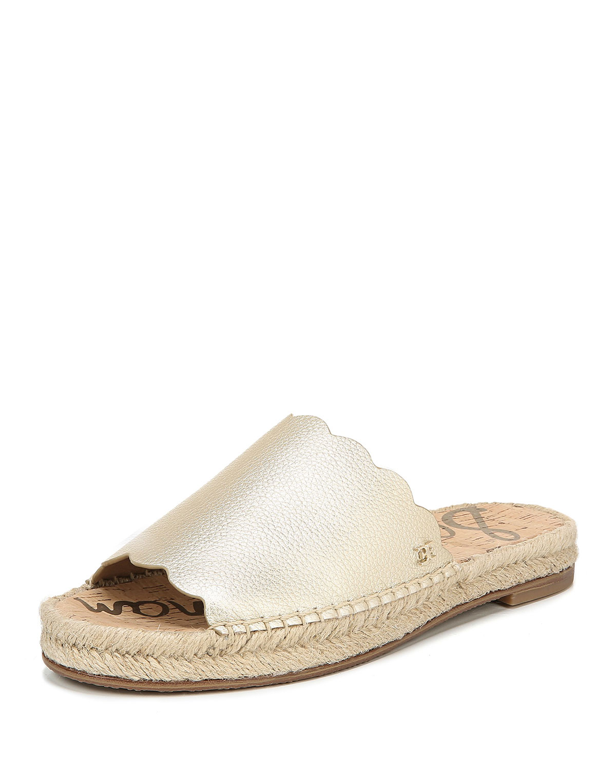 Andy Metallic Leather Espadrille Slides