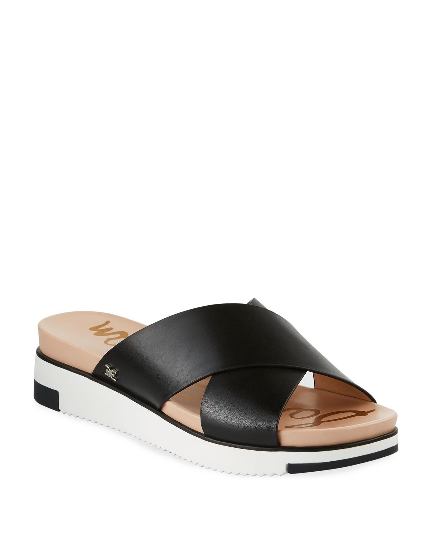 Audrea Leather Platform Slide Sandals, Black