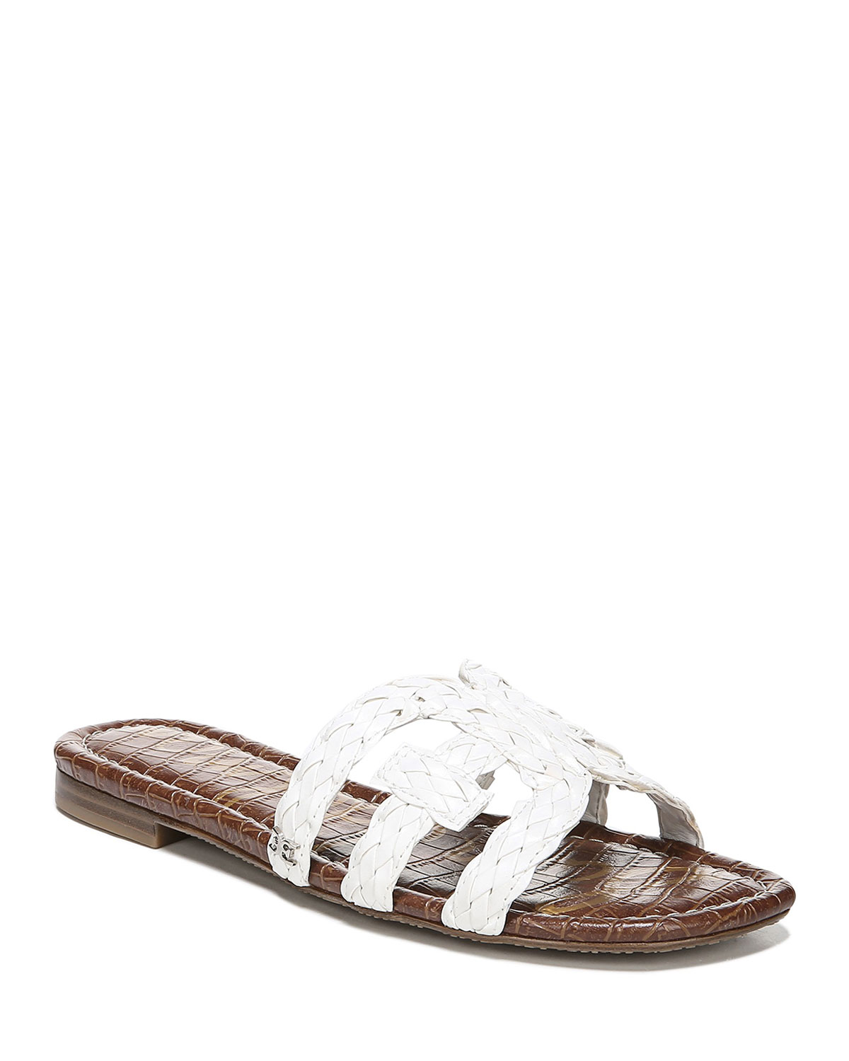 Beckie Braided Leather Cutout Slide Sandals