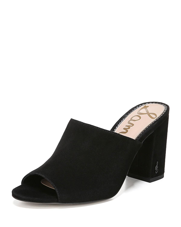 Orlie Block-Heel Suede Mule Sandals