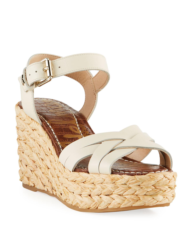 Darline Leather Platform Espadrille Sandals, White