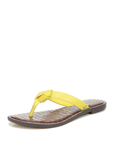 Giles Napa Leather Thong Sandals, Yellow
