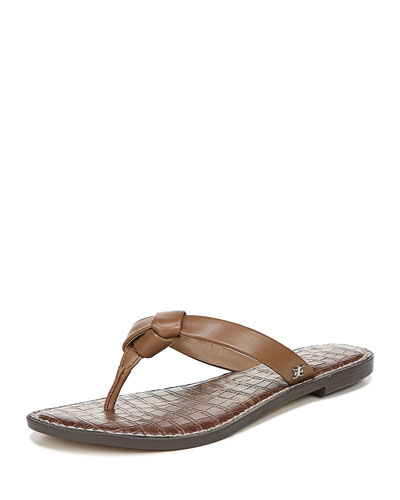Giles Napa Leather Thong Sandals, Brown