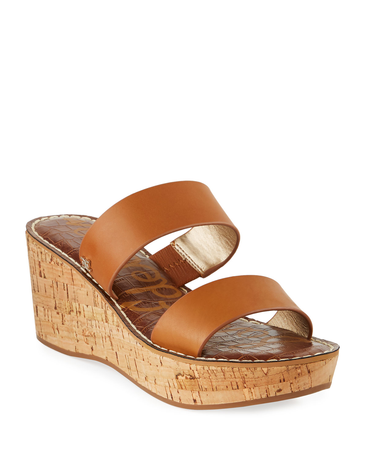 Rydell Cork-Wedge Leather Sandals, Brown