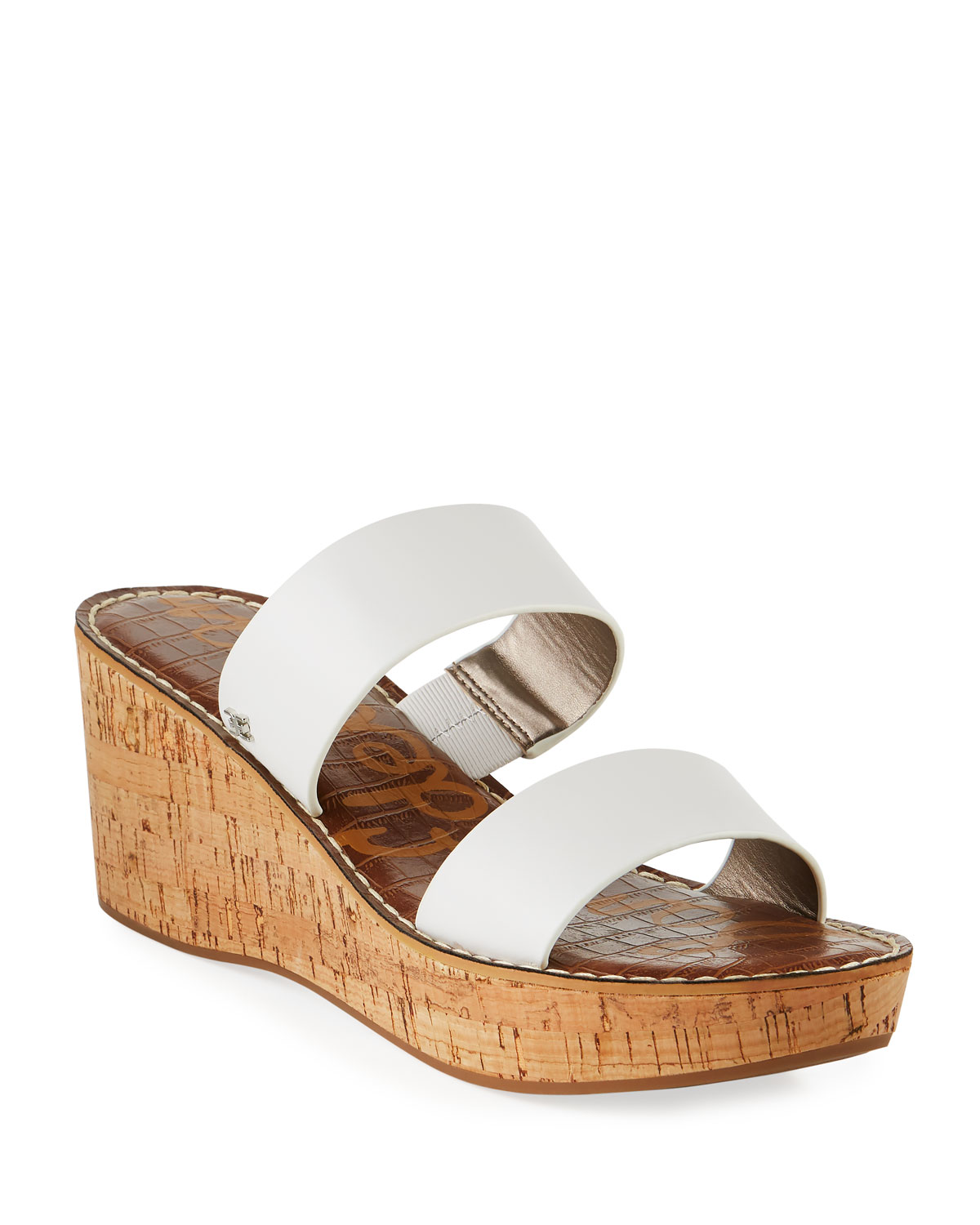 Rydell Cork-Wedge Leather Sandals, White