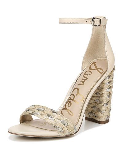 Yoana Metallic Raffia High-Heel Sandals