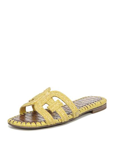 Beckie 2 Flat Woven Raffia Slide Sandals